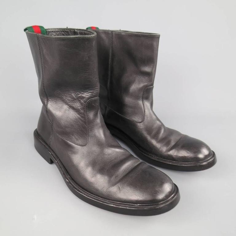 Men's GUCCI Size 11 Black Leather Striped Webbing Tab Biker Boots In Good Condition For Sale In San Francisco, CA