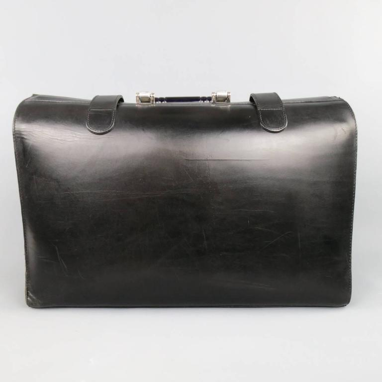 bill amberg black leather silver and blue metal handle doctor 39 s bag briefcase at 1stdibs. Black Bedroom Furniture Sets. Home Design Ideas