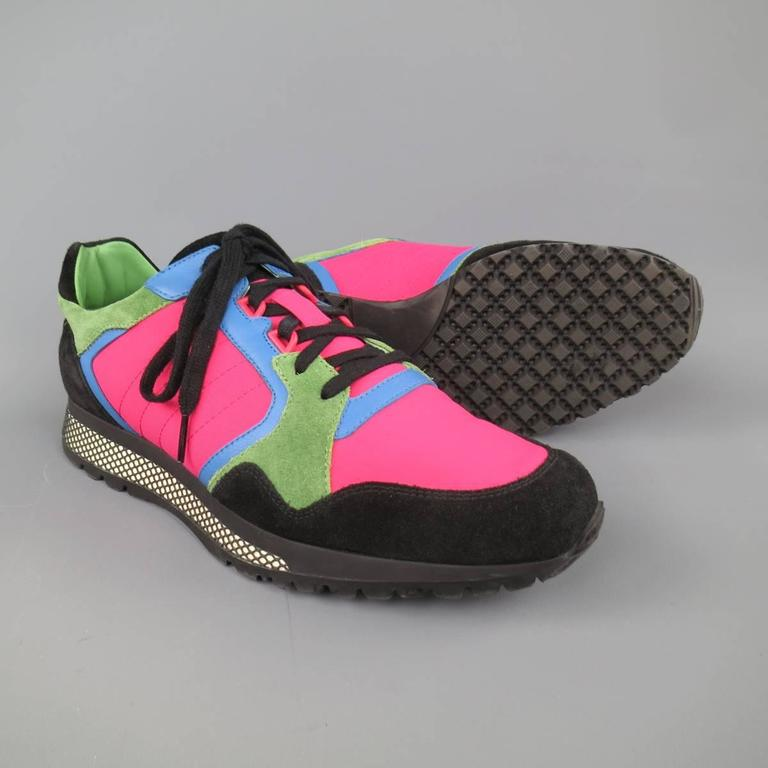 Men's GUCCI Size 10 Neon Pink Green Blue & Black Nylon & Suede Trainer Sneakers 3