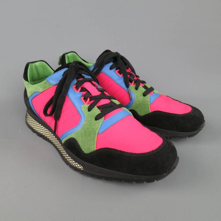 Men's GUCCI Size 10 Neon Pink Green Blue & Black Nylon & Suede Trainer Sneakers 2