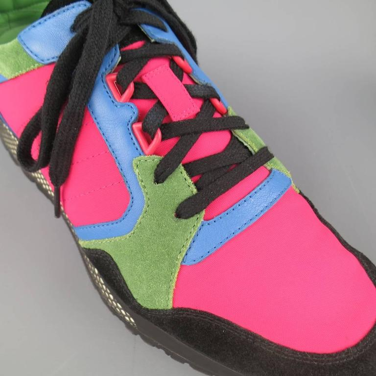 Men's GUCCI Size 10 Neon Pink Green Blue & Black Nylon & Suede Trainer Sneakers 4