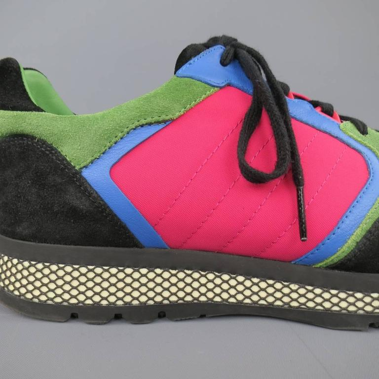 Men's GUCCI Size 10 Neon Pink Green Blue & Black Nylon & Suede Trainer Sneakers 5