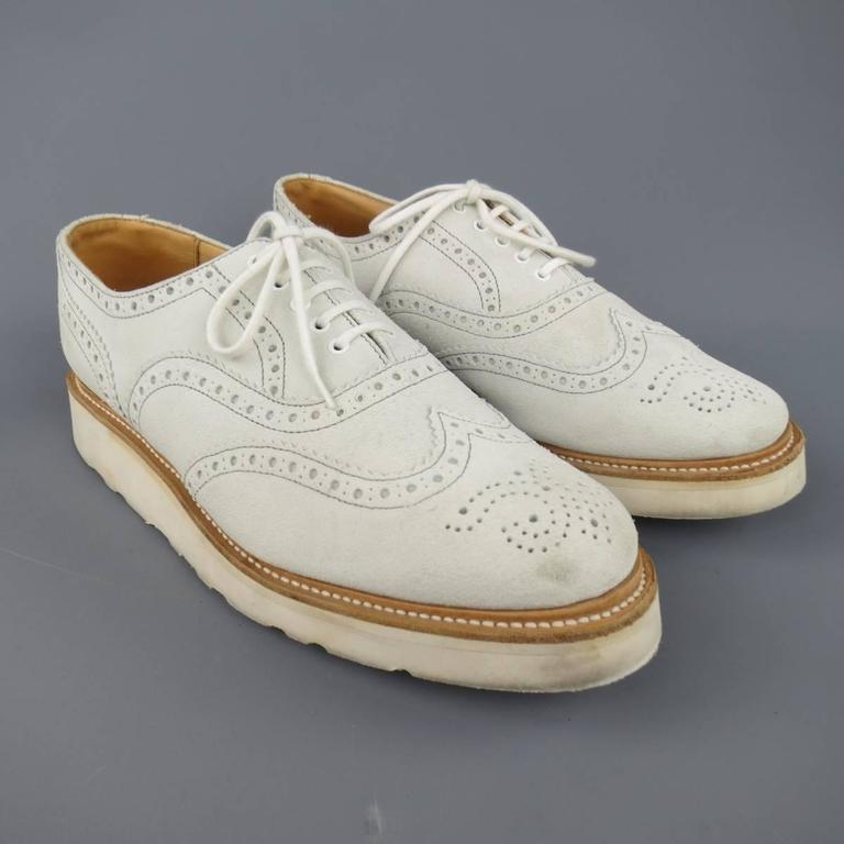 Men's HERITAGE RESEARCH Size 9 Off White Suede Lace Up Platform Brogues For Sale 2