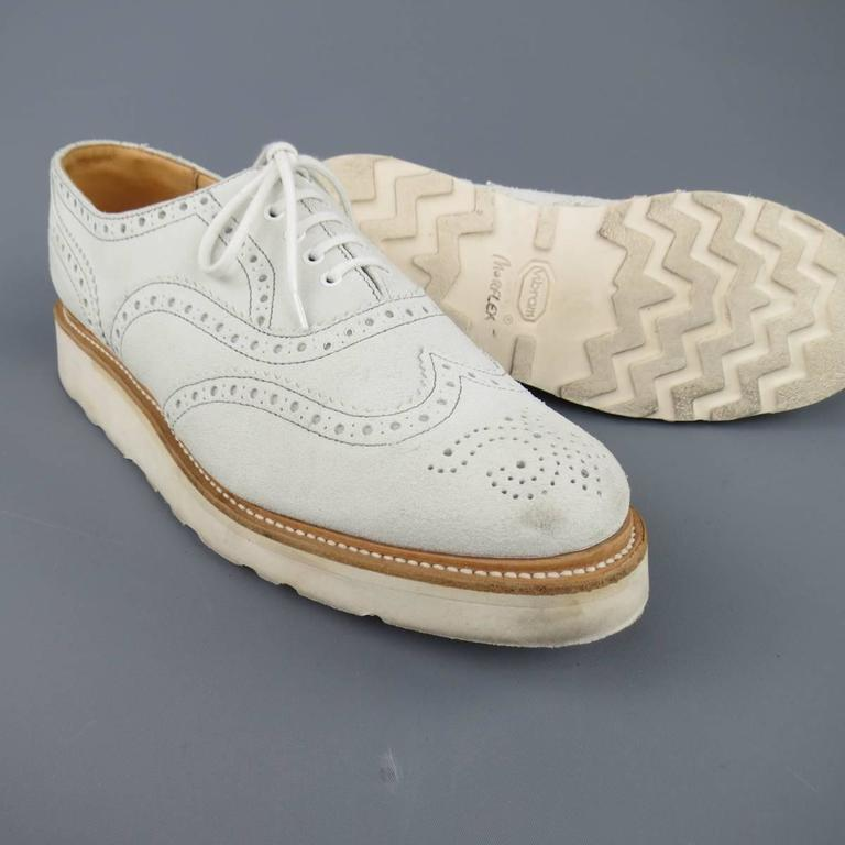 Men's HERITAGE RESEARCH Size 9 Off White Suede Lace Up Platform Brogues In Good Condition For Sale In San Francisco, CA