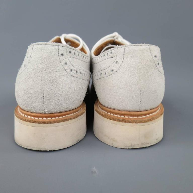 Men's HERITAGE RESEARCH Size 9 Off White Suede Lace Up Platform Brogues For Sale 3