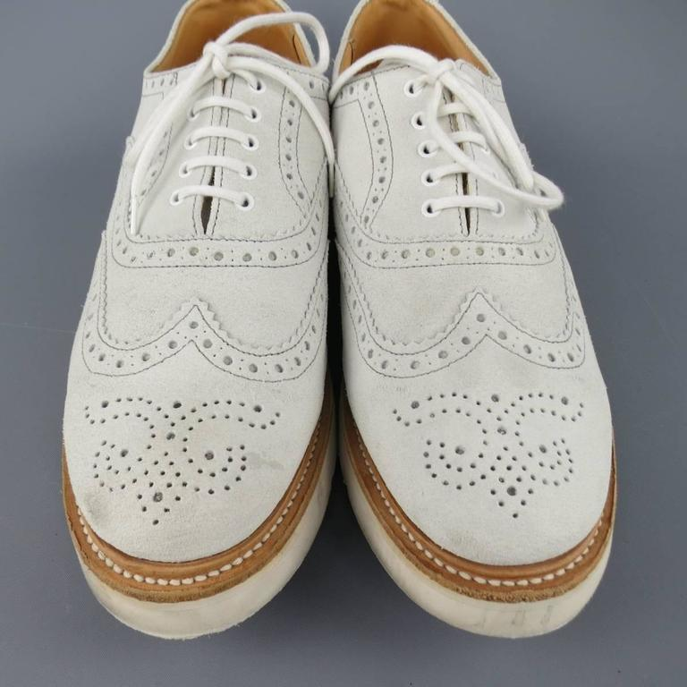 Men's HERITAGE RESEARCH Size 9 Off White Suede Lace Up Platform Brogues For Sale 1