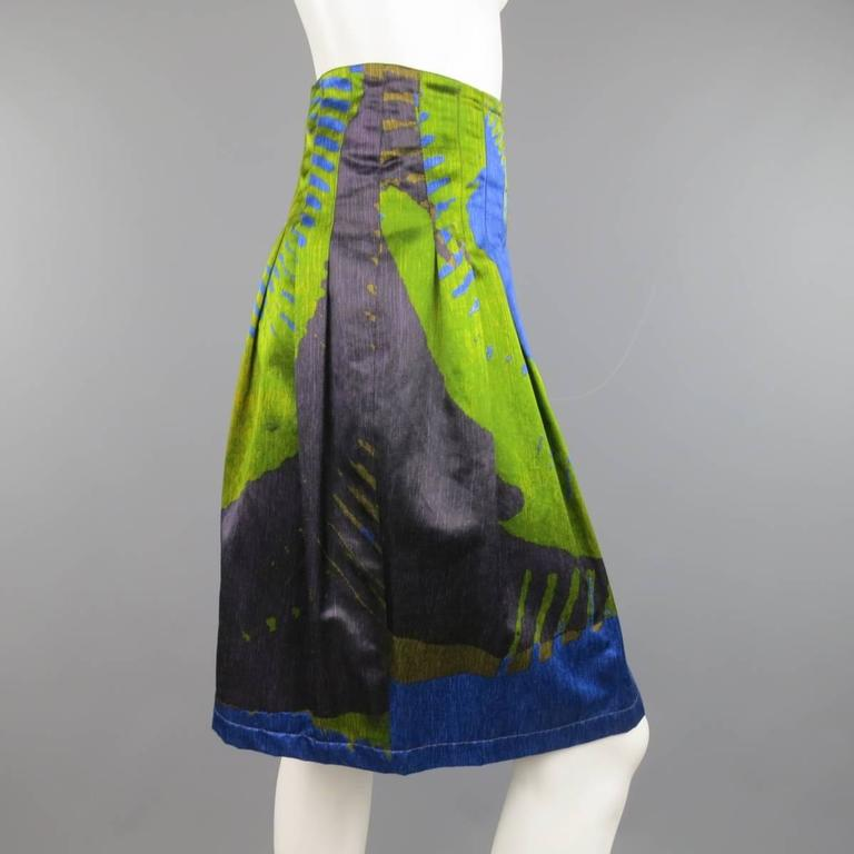 ETRO Size 4 Green & Blue Abstract Print Satin Pleated A Line Skirt 4
