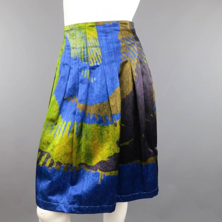 ETRO Size 4 Green & Blue Abstract Print Satin Pleated A Line Skirt 3