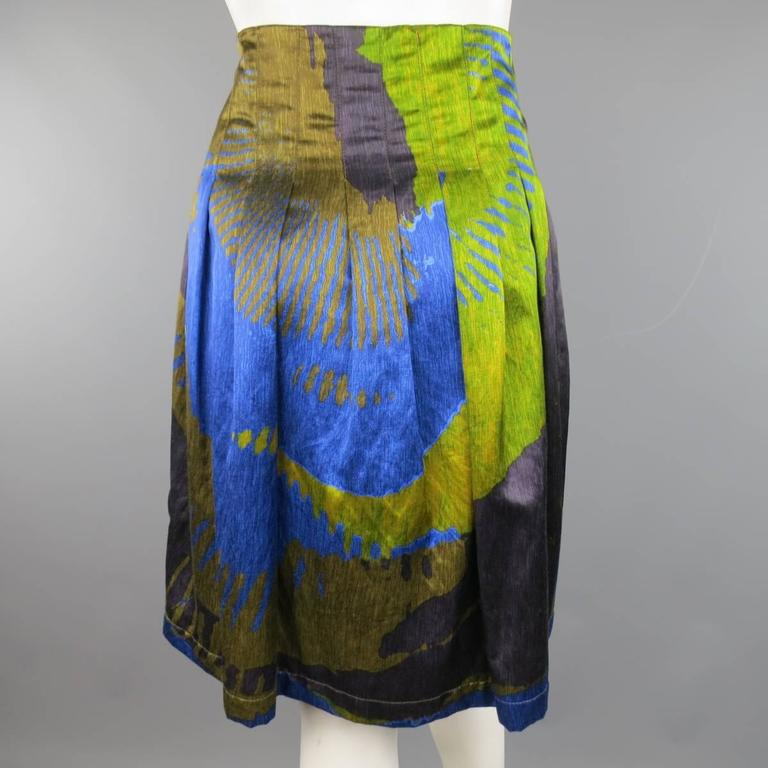 ETRO Size 4 Green & Blue Abstract Print Satin Pleated A Line Skirt 5