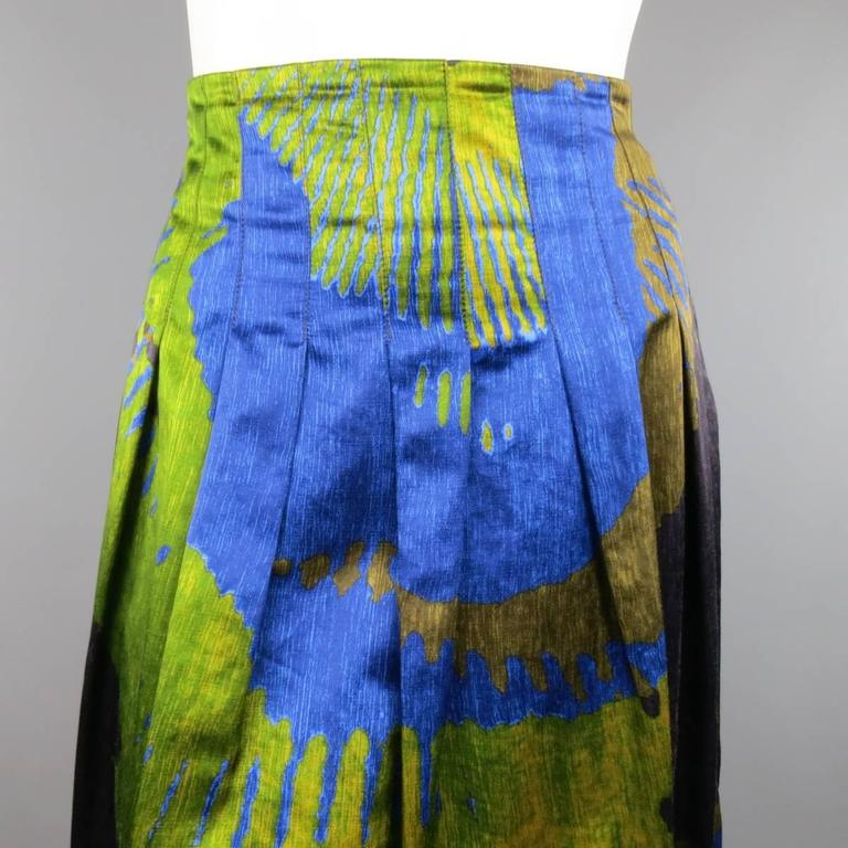 ETRO Size 4 Green & Blue Abstract Print Satin Pleated A Line Skirt 2