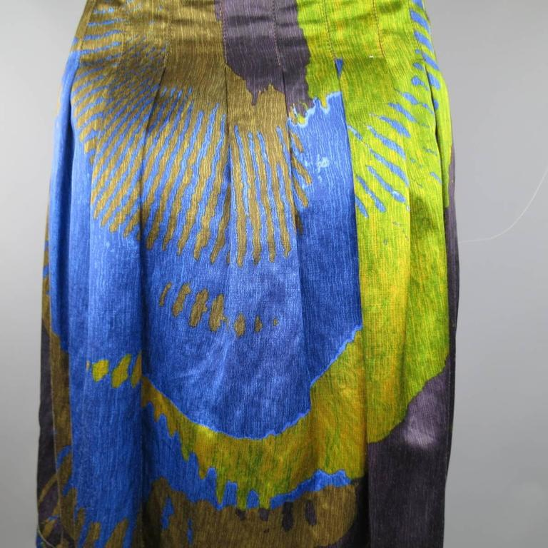 ETRO Size 4 Green & Blue Abstract Print Satin Pleated A Line Skirt 6