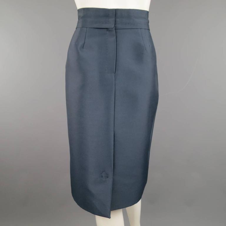 MARC JACOBS Size 4 Slate Blue Nylon / Silk Snap Slit A Line Skirt In Excellent Condition For Sale In San Francisco, CA