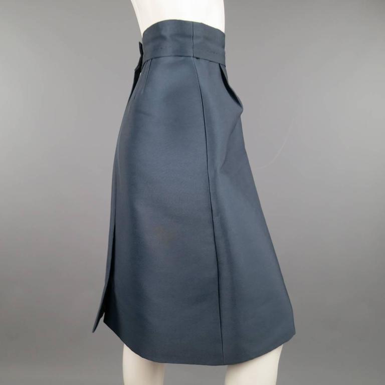 MARC JACOBS Size 4 Slate Blue Nylon / Silk Snap Slit A Line Skirt 3