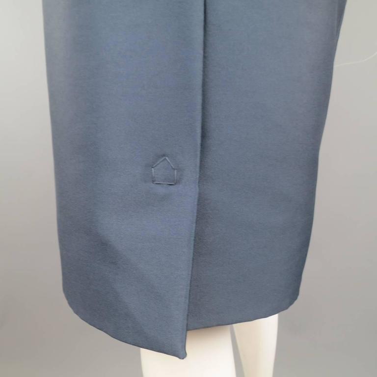 MARC JACOBS Size 4 Slate Blue Nylon / Silk Snap Slit A Line Skirt 5