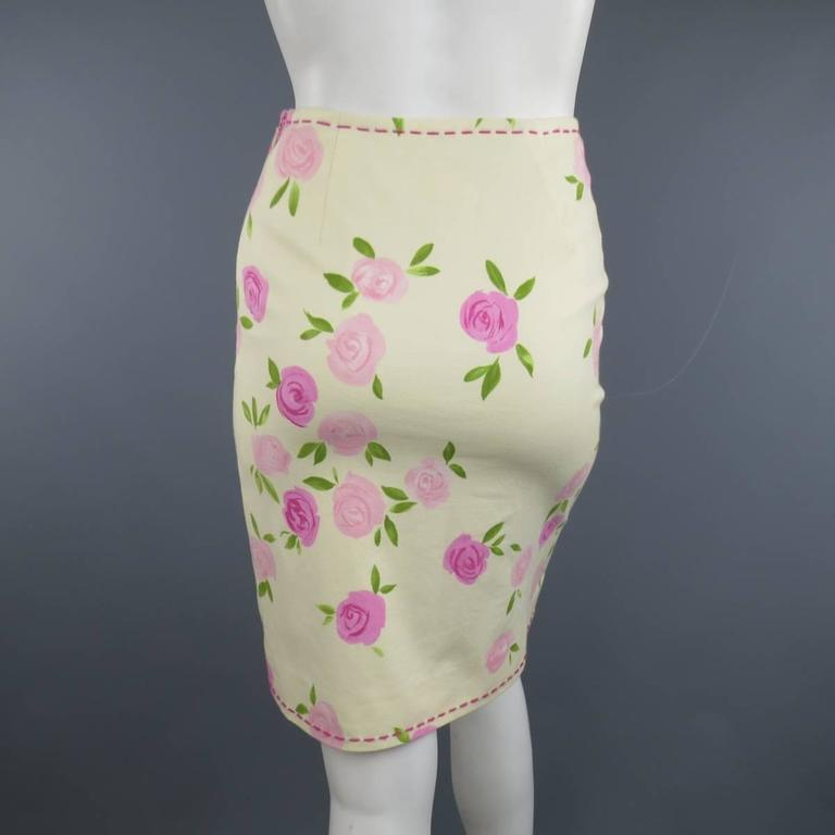 MOSCHINO Size 4 Pink Rosette Print Yellow Beige Cotton Top Stitch Pencil Skirt 5