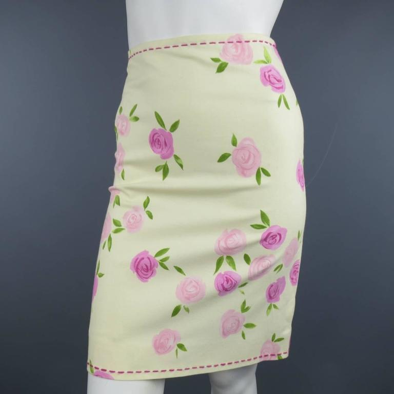 MOSCHINO Size 4 Pink Rosette Print Yellow Beige Cotton Top Stitch Pencil Skirt 2