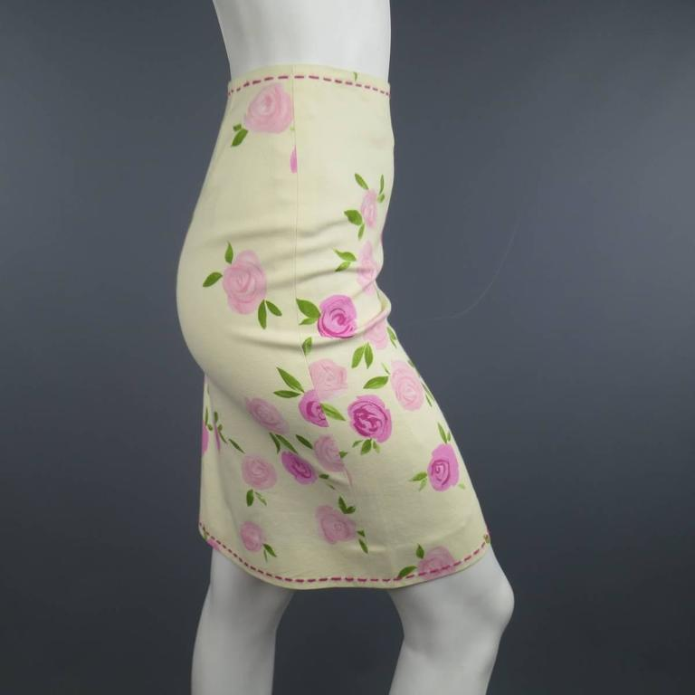 MOSCHINO Size 4 Pink Rosette Print Yellow Beige Cotton Top Stitch Pencil Skirt 6