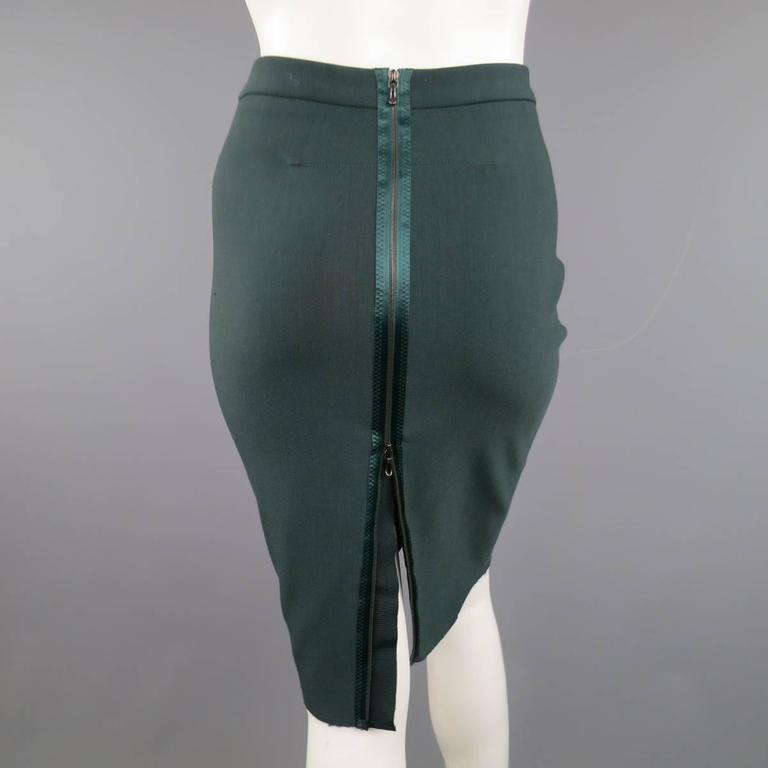 LANVIN Size 4 Green Stretch Satin Back Zip Pencil Skirt 3