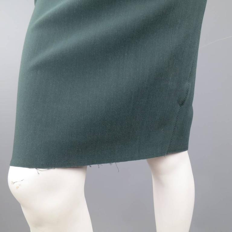 LANVIN Size 4 Green Stretch Satin Back Zip Pencil Skirt 2