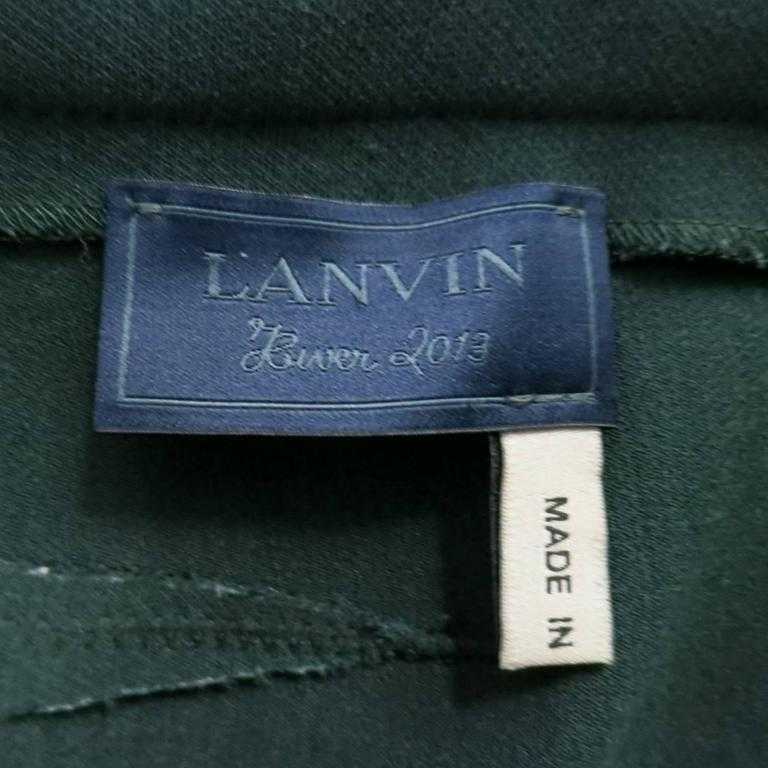 LANVIN Size 4 Green Stretch Satin Back Zip Pencil Skirt 6