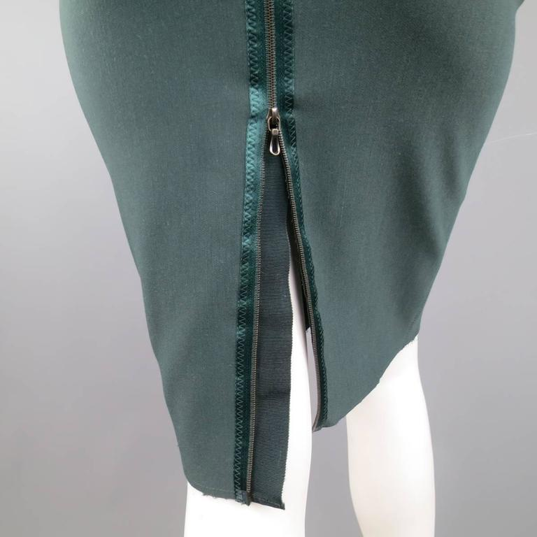 LANVIN Size 4 Green Stretch Satin Back Zip Pencil Skirt 4