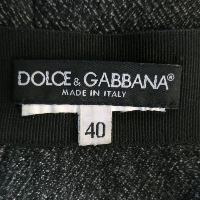 DOLCE & GABBANA Size 4 Heather Gray Pleated Front A Line Skirt 6