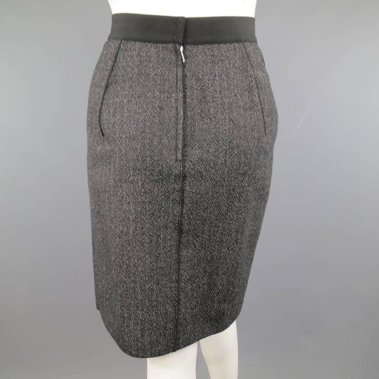 DOLCE & GABBANA Size 4 Heather Gray Pleated Front A Line Skirt 4