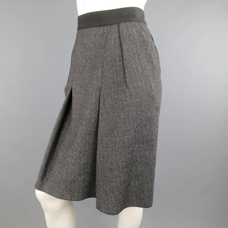 DOLCE & GABBANA Size 4 Heather Gray Pleated Front A Line Skirt 3