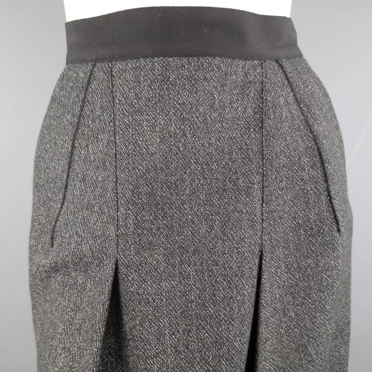DOLCE & GABBANA Size 4 Heather Gray Pleated Front A Line Skirt 2