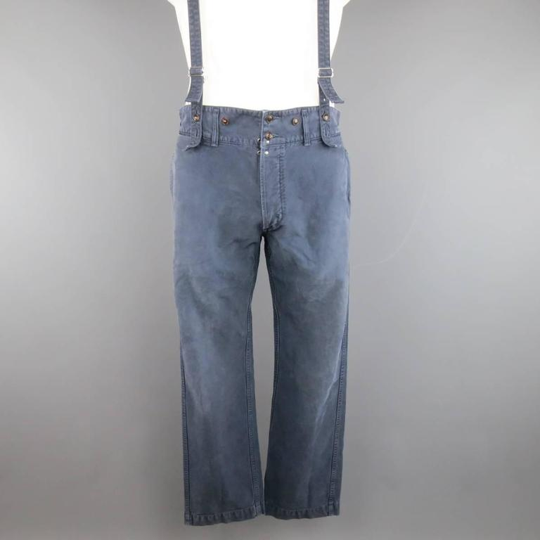 Visvim Size 32 Navy Washed Cotton Pastoral Braces