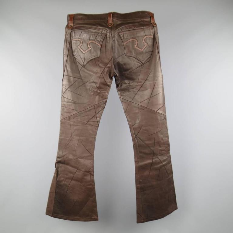 OBELISK Leather Pants - Size 32 Brown Distressed Leather Bell Bottom Jeans For Sale 2