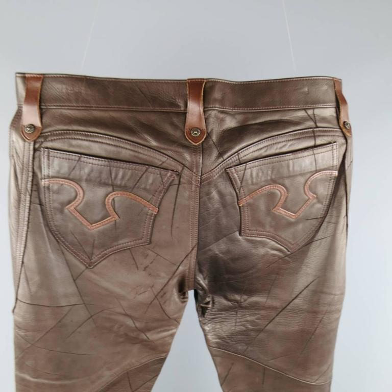 OBELISK Leather Pants - Size 32 Brown Distressed Leather Bell Bottom Jeans For Sale 3