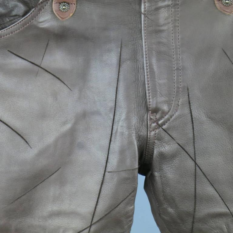 OBELISK Leather Pants - Size 32 Brown Distressed Leather Bell Bottom Jeans For Sale 1