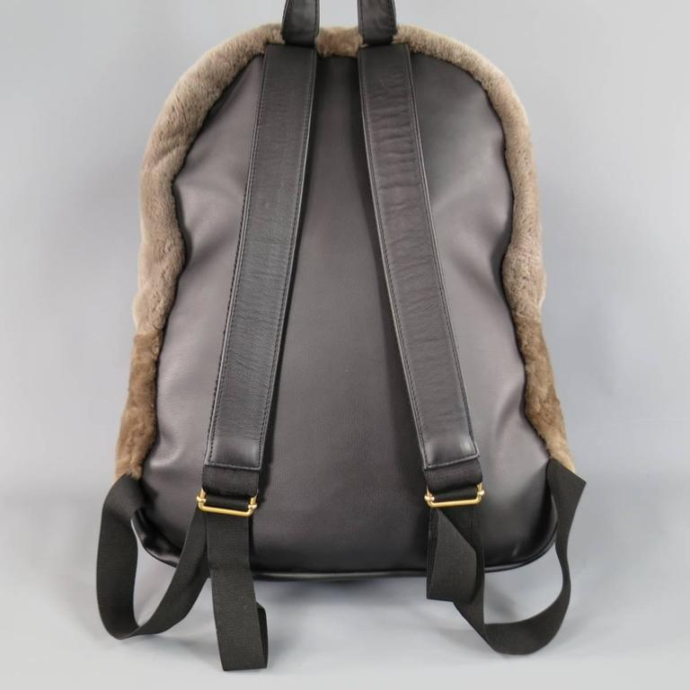 MARC JACOBS Taupe Brown Beaver Fur & Leather Backpack 3