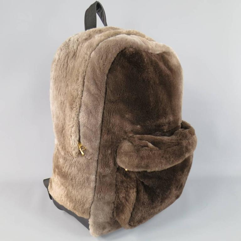 MARC JACOBS Taupe Brown Beaver Fur & Leather Backpack 2