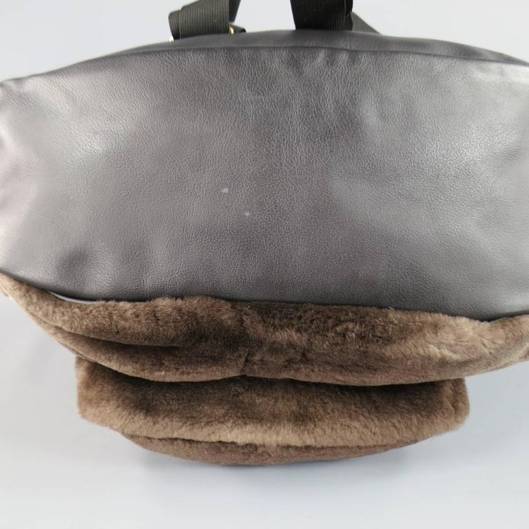 MARC JACOBS Taupe Brown Beaver Fur & Leather Backpack 4