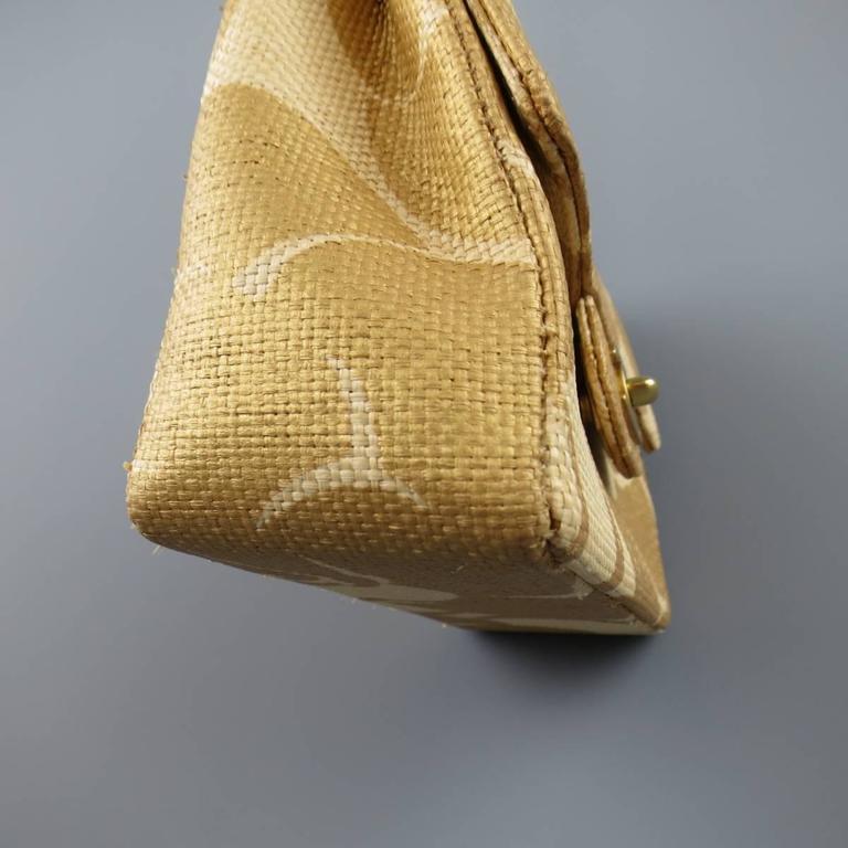 Orange CHANEL Metallic Gold & Beige Floral Straw Chain Strap Handbag