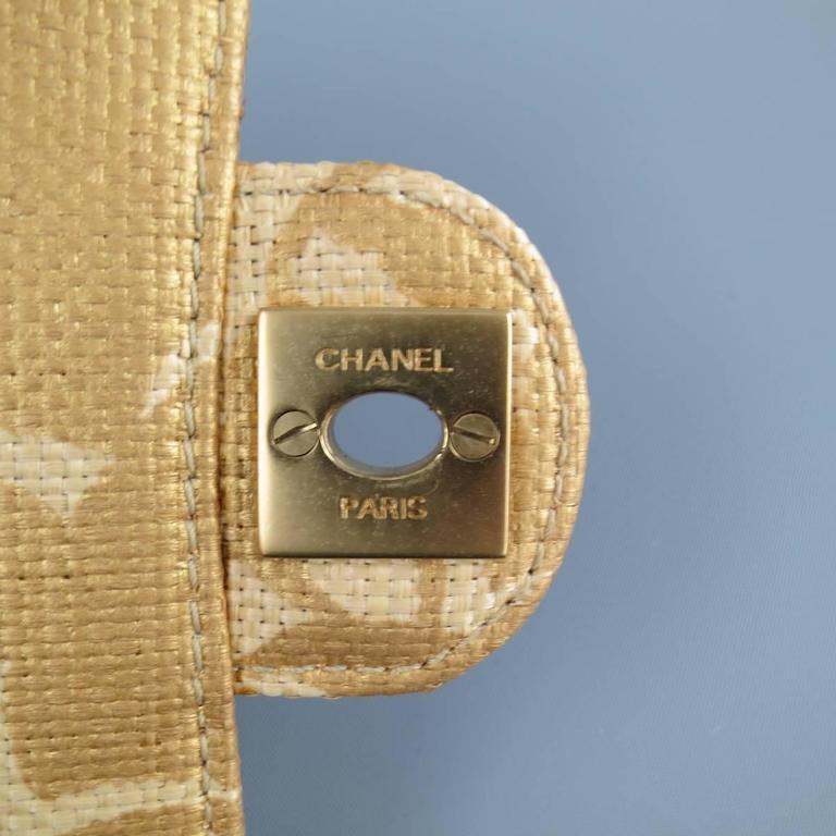 CHANEL Metallic Gold & Beige Floral Straw Chain Strap Handbag In Good Condition In San Francisco, CA