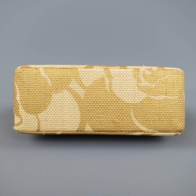 CHANEL Metallic Gold & Beige Floral Straw Chain Strap Handbag 2
