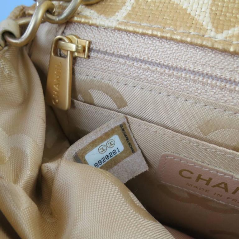 CHANEL Metallic Gold & Beige Floral Straw Chain Strap Handbag 5