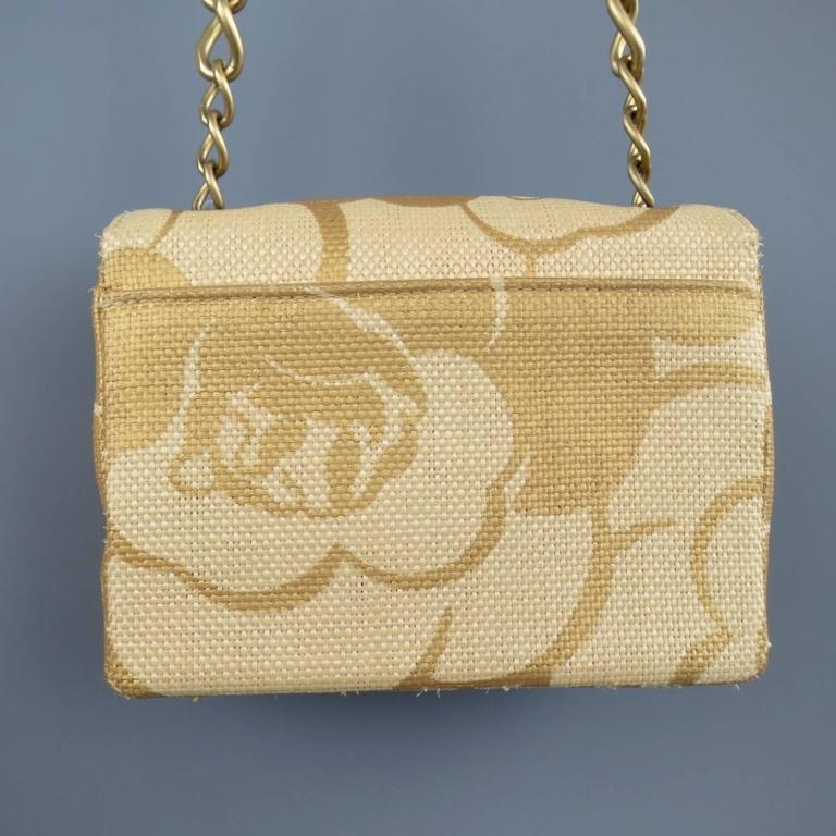 CHANEL Metallic Gold & Beige Floral Straw Chain Strap Handbag 1