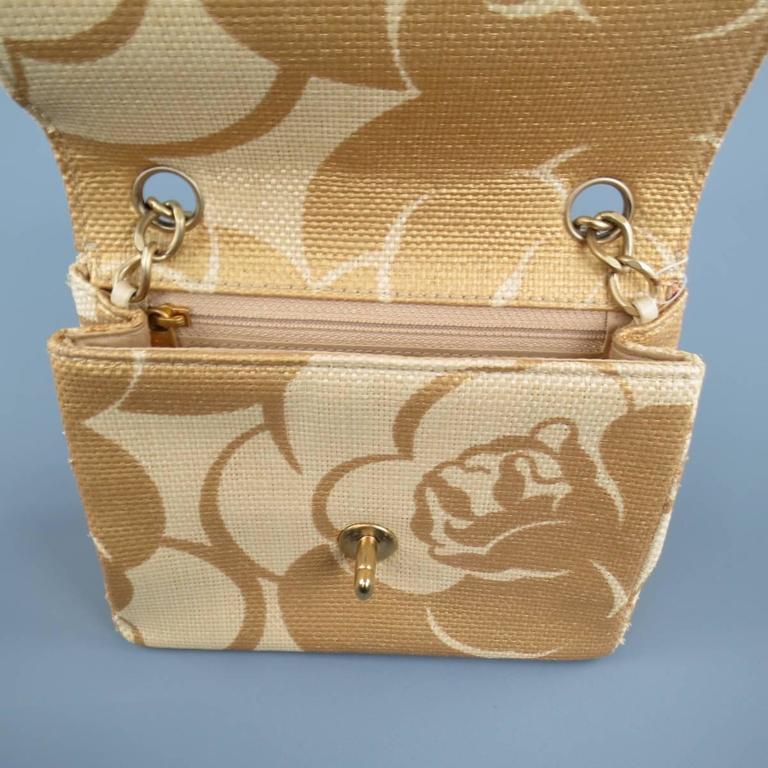 Women's CHANEL Metallic Gold & Beige Floral Straw Chain Strap Handbag