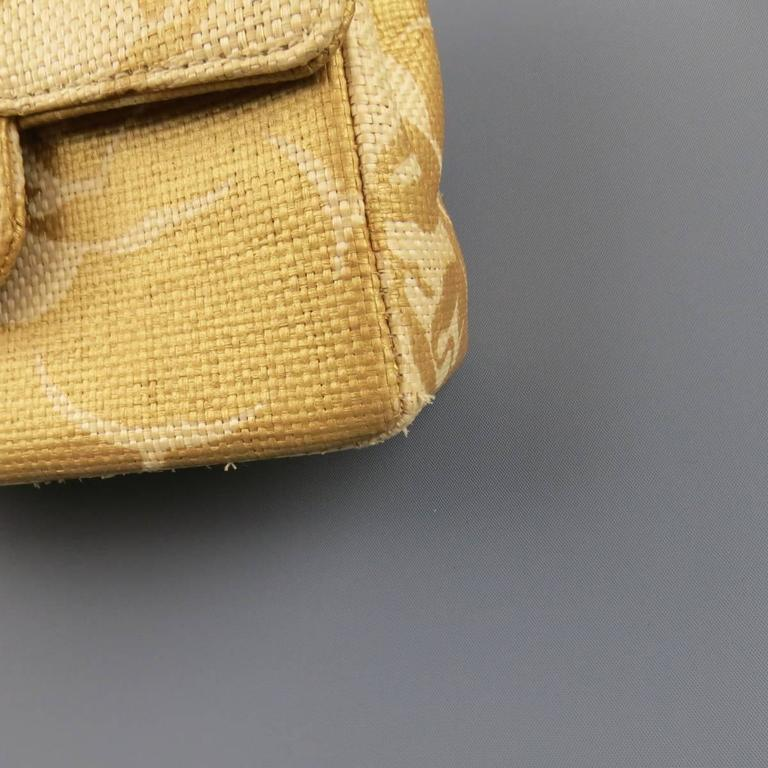 CHANEL Metallic Gold & Beige Floral Straw Chain Strap Handbag 3