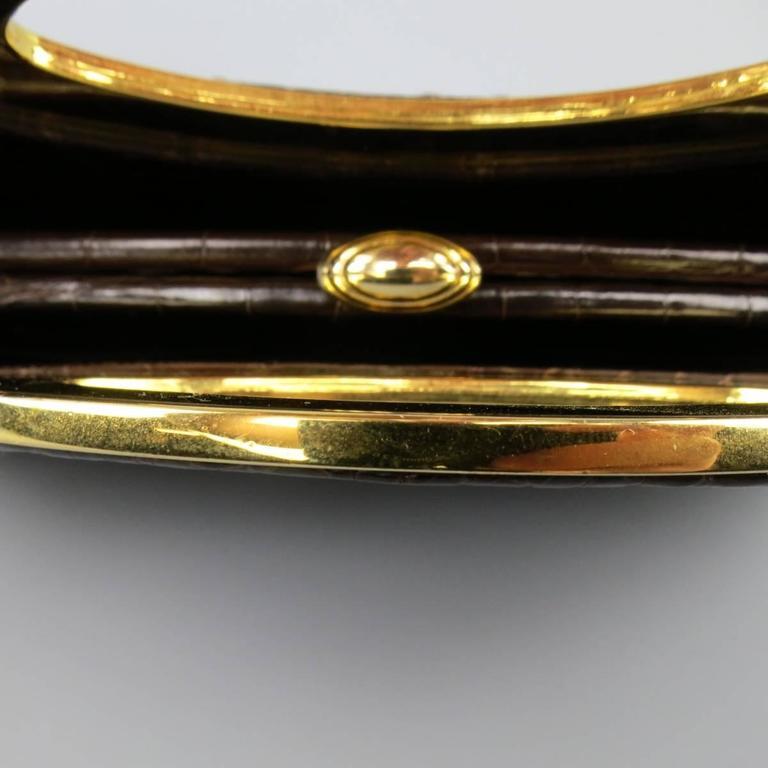 Judith Leiber Handbag - Brown Gold Alligator Leather Evening Bag For Sale 2