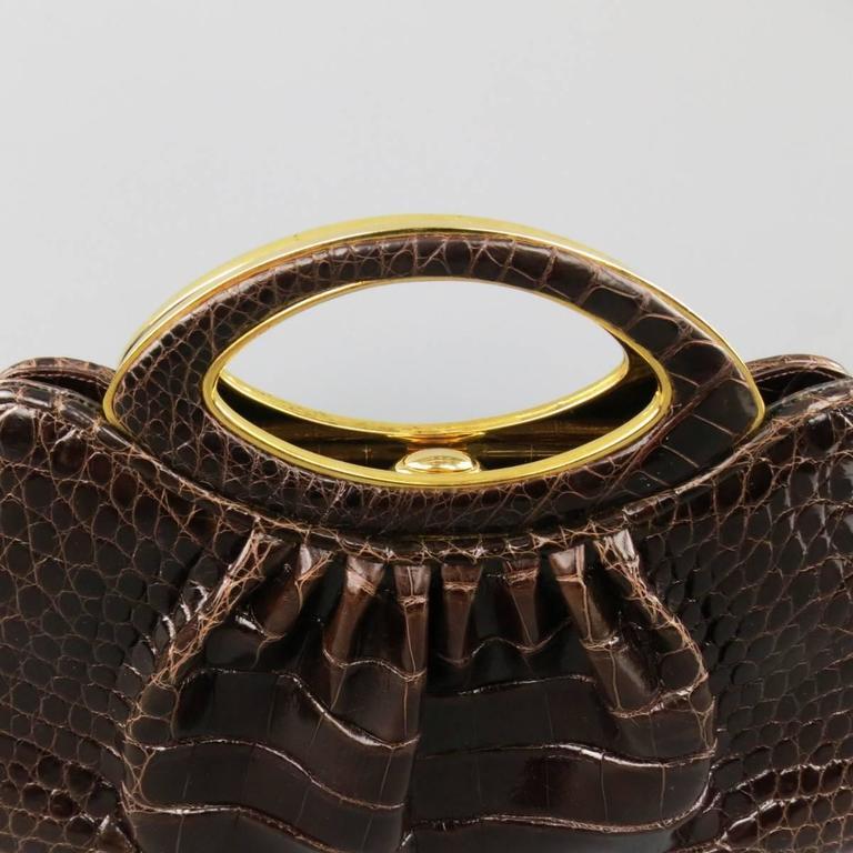 Black Judith Leiber Handbag - Brown Gold Alligator Leather Evening Bag For Sale