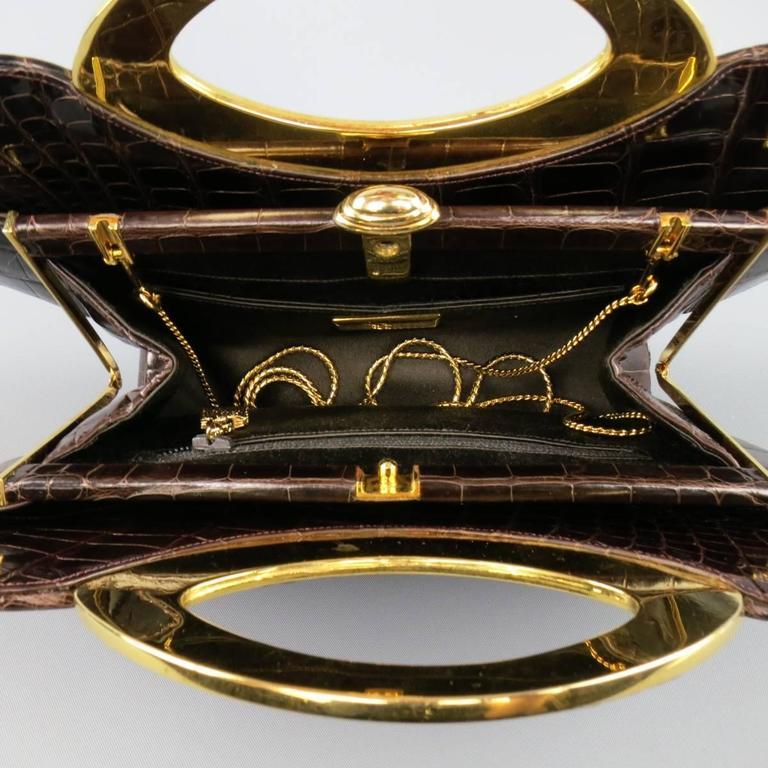 Judith Leiber Handbag - Brown Gold Alligator Leather Evening Bag For Sale 3