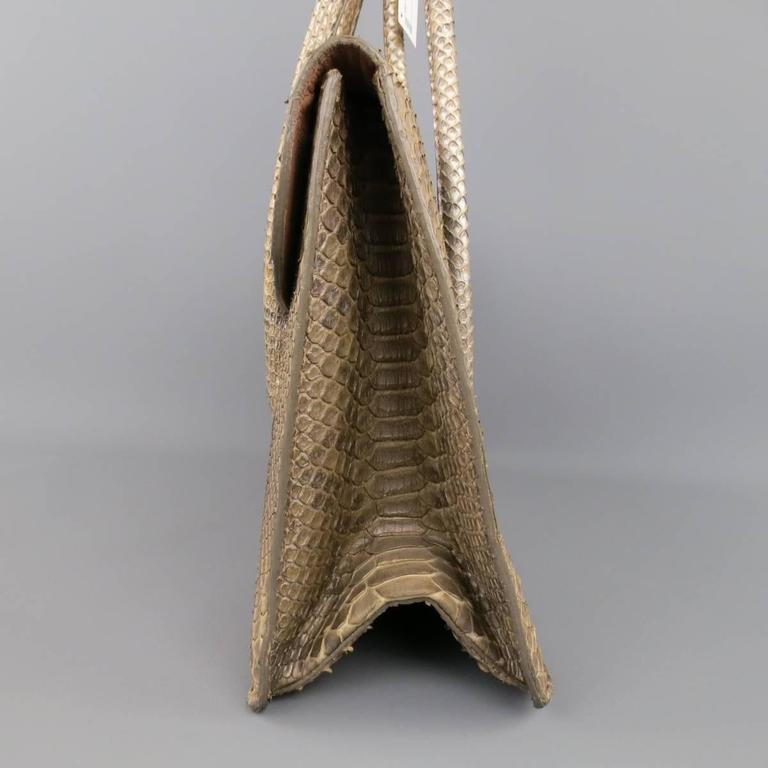 ALAIA Beige Snakeskin Top Handles Shoulder Handbag 5