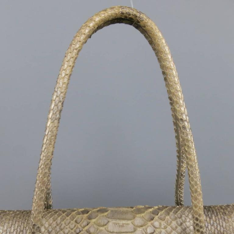 ALAIA Beige Snakeskin Top Handles Shoulder Handbag 4