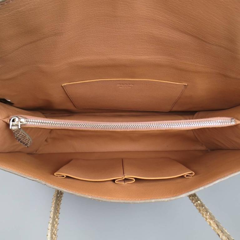 ALAIA Beige Snakeskin Top Handles Shoulder Handbag 8