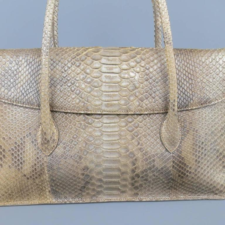 ALAIA Beige Snakeskin Top Handles Shoulder Handbag 2
